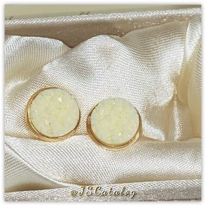 Milky White Chunky Druzy Gold Plated Earrings